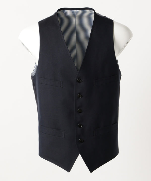 Navy Cotton Silk Gabardine Vest
