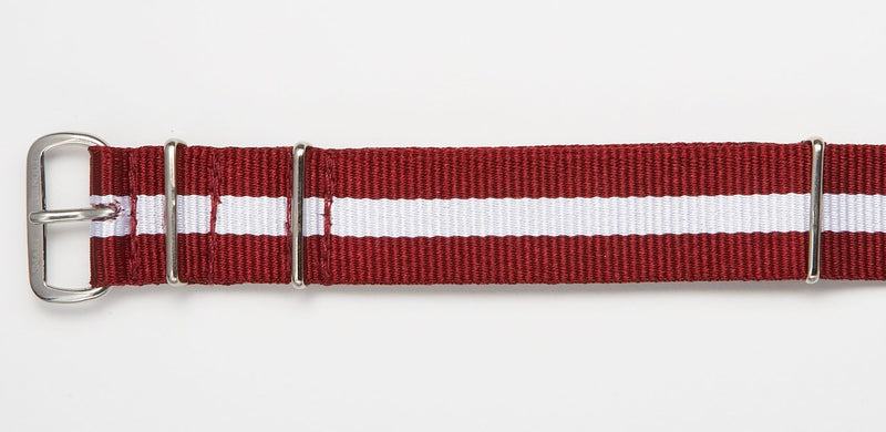 BURGUNDY/WHITE WATCHBAND