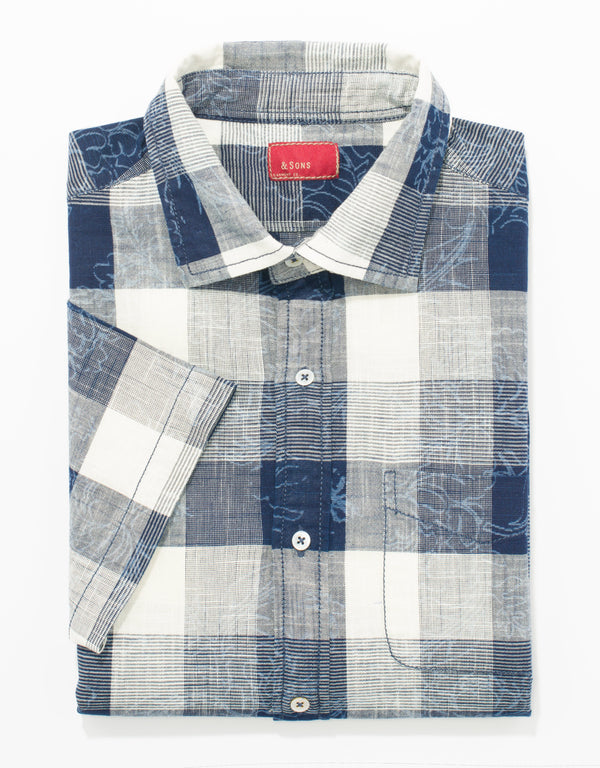 & SONS GARMENT CO.LAZER PLAID SHORT SLEEVE SPREAD COLLAR WITH SINGLE POCKET