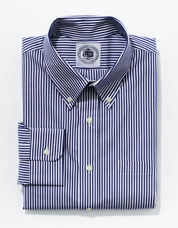 BLUE/WHITE BENGAL STRIPE BROADCLOTH DRESS SHIRT
