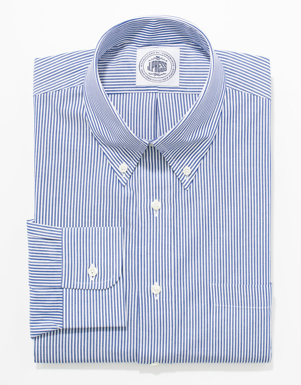 BLUE/WHITE CANDY BROADCLOTH STRIPE BUTTON DOWN SHIRT