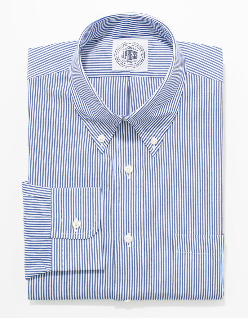 BLUE/WHITE CANDY STRIPE BUTTON DOWN SHIRT