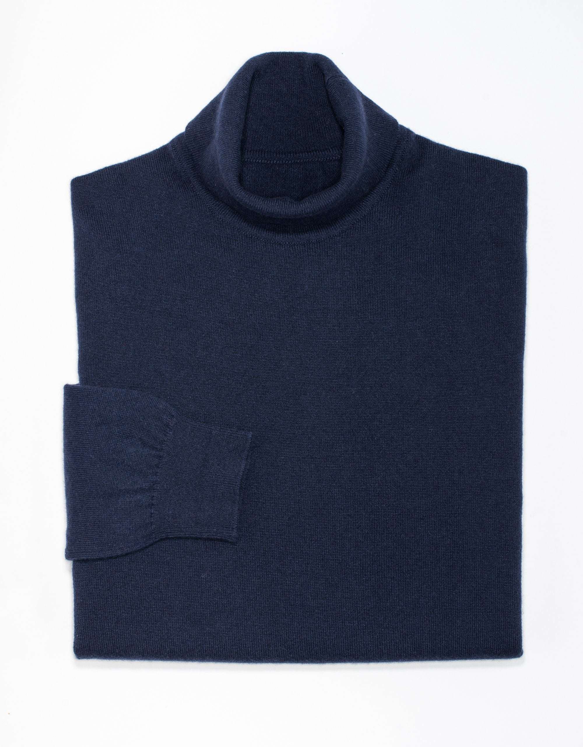 NAVY CASHMERE ROLL NECK SWEATER