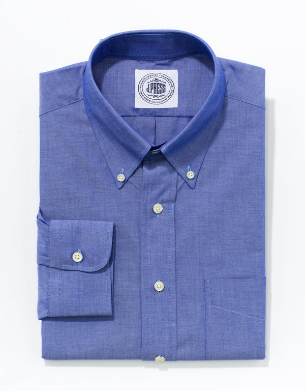 BLUE CHAMBRAY BROADCLOTH DRESS SHIRT