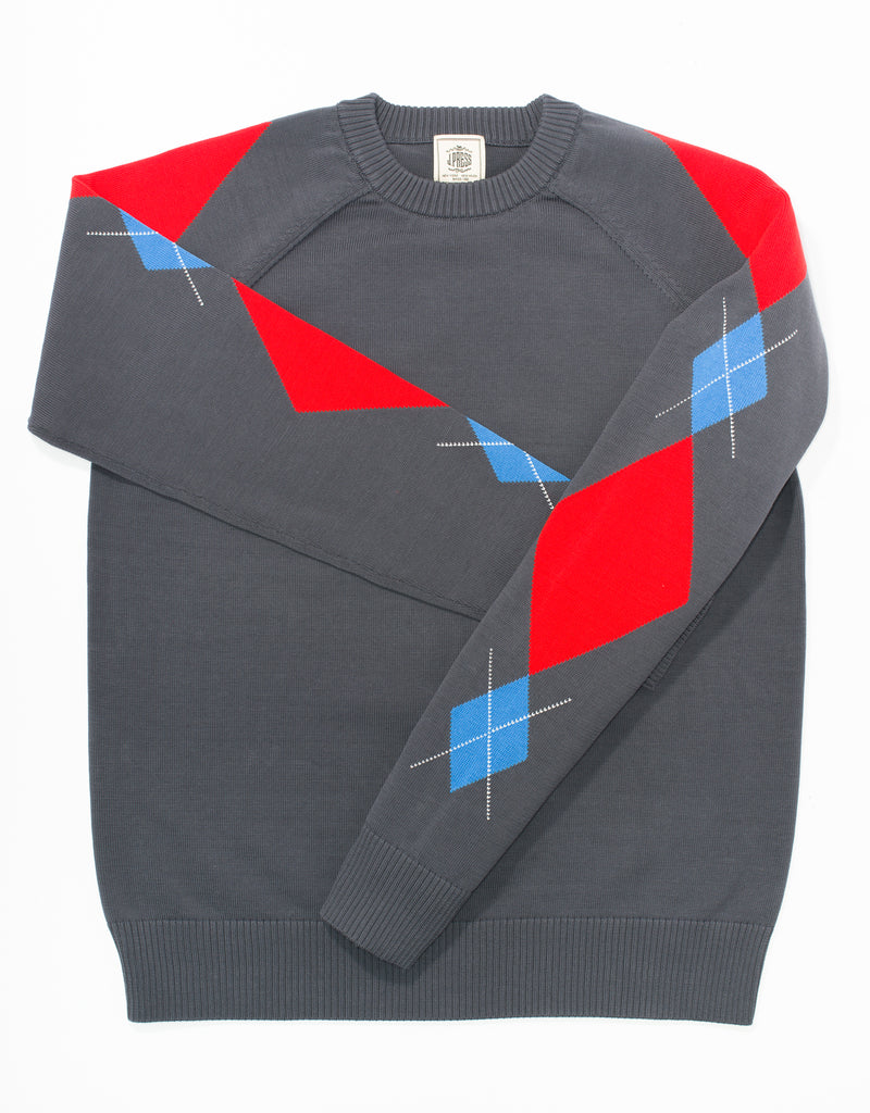 HUSTON GASS CREW ARGYLE - CHARCOAL