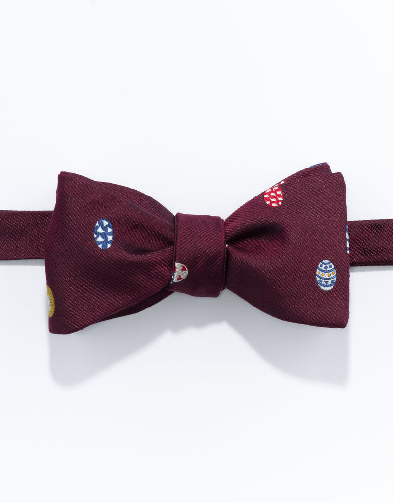 PRINTED EASTER EGG BOW TIE - BURGUNDY