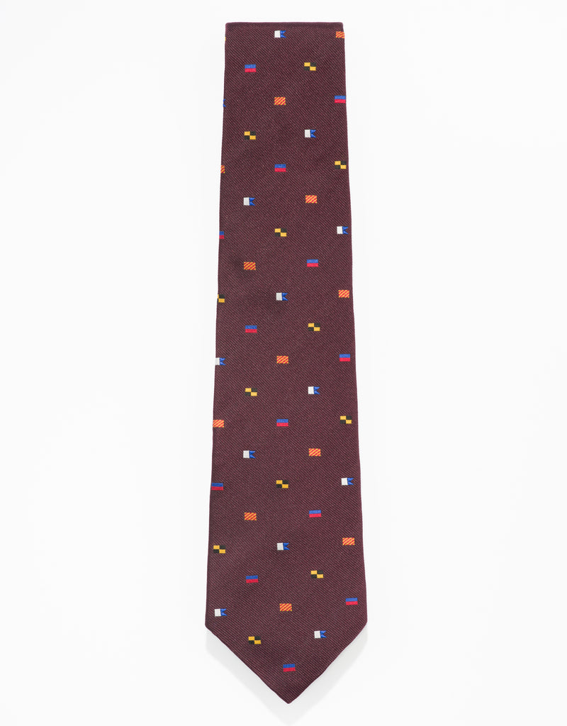"EMBLEMATIC CODE FLAG ""YALE"" TIE - BURGUNDY"