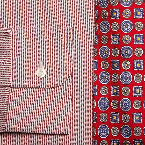 RED/WHITE STRIPE BROADCLOTH DRESS SHIRT