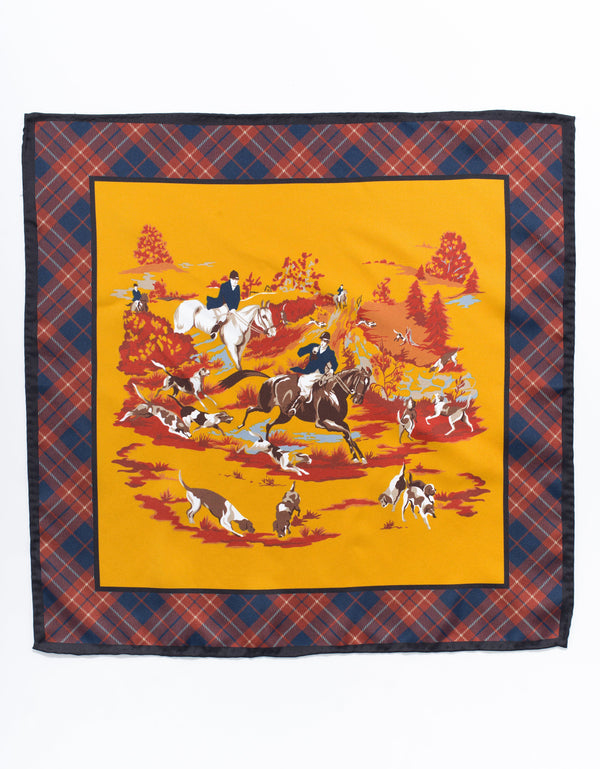 SILK POCKET SQUARE  HORSE AND HOUND - GOLD