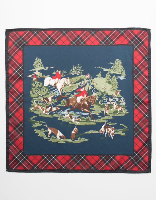SILK POCKET SQUARE  HORSE AND HOUND - NAVY