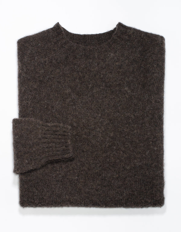 SHAGGY DOG SWEATER DARK BROWN- TRIM FIT