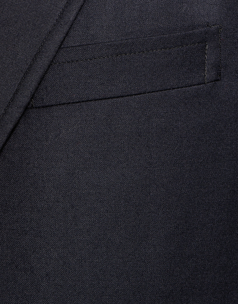 NAVY WOOL 3-BUTTON SACK DOESKIN BLAZER