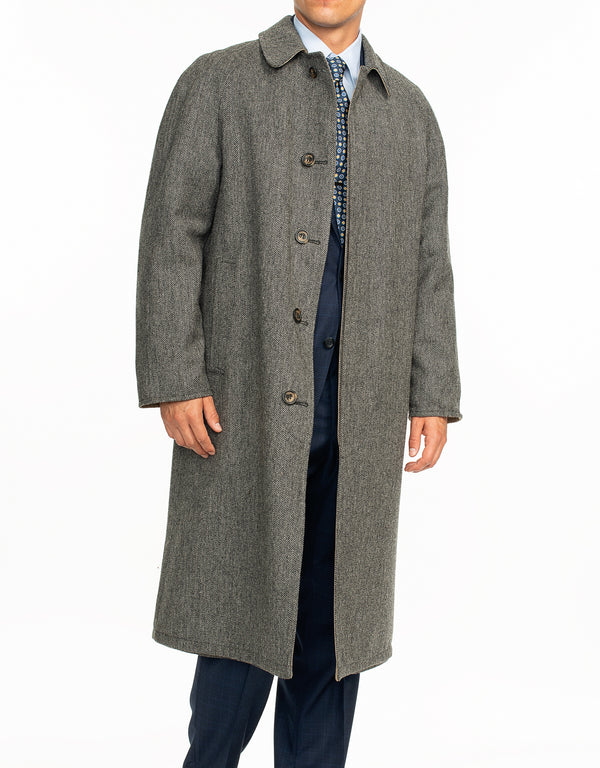 TAN GREY HERRINGBONE REVERSIBLE COAT