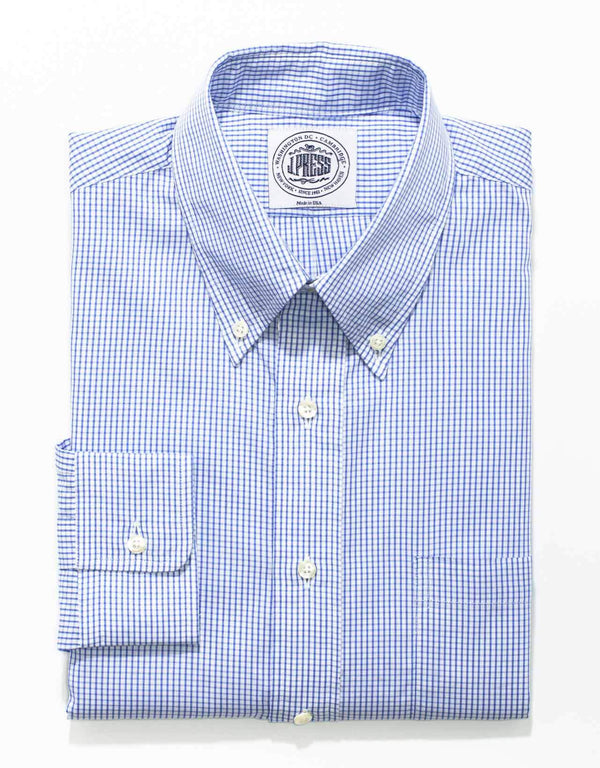 BLUE WHITE CHECK BROADCLOTH DRESS SHIRT