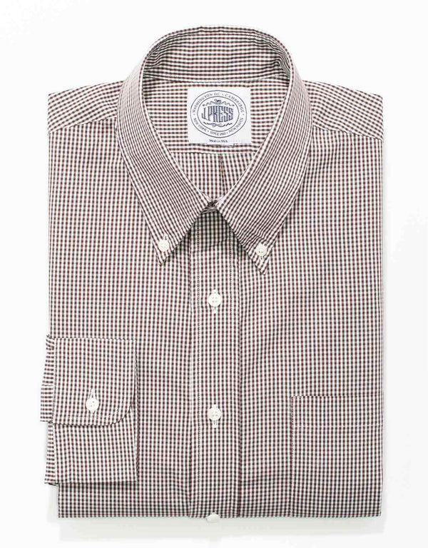 BROWN SMALL GINGHAM BROADCLOTH DRESS SHIRT