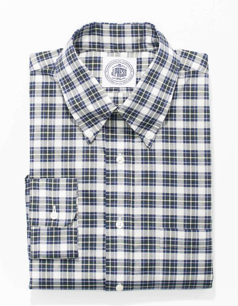 NAVY WHITE PLAID BUTTON SHIRT - CLASSIC FIT