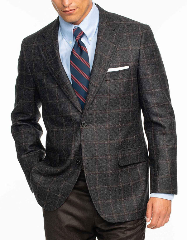 CHARCOAL WITH PANE SPORT COAT - CLASSIC FIT