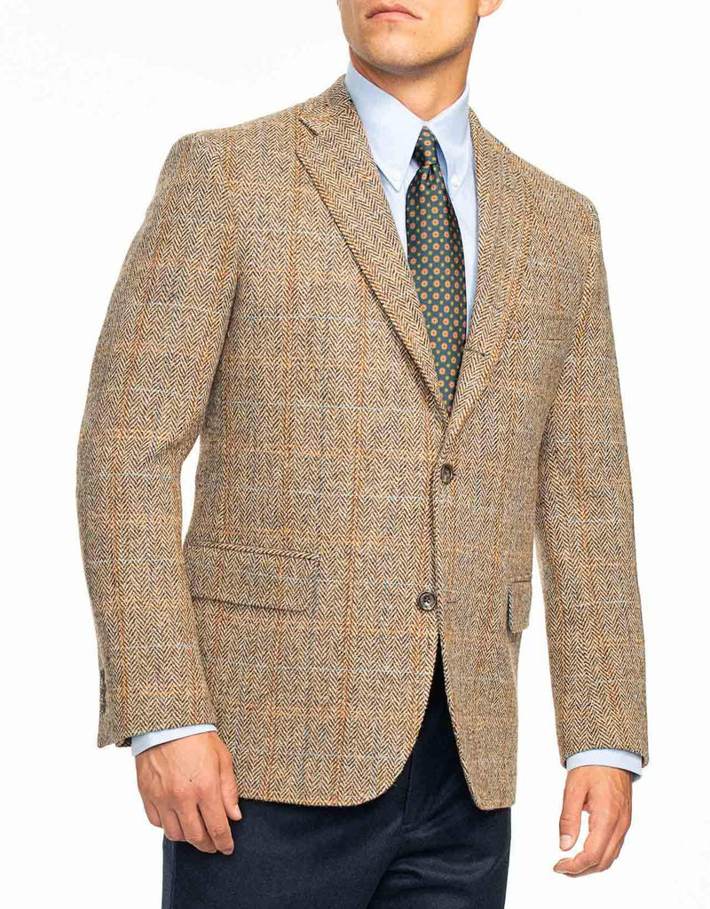 HARRIS TWEED BROWN HERRINGBONE SPORT COAT - TRIM FIT