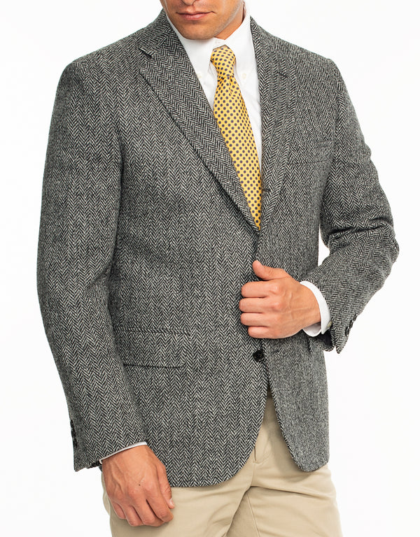 HARRIS TWEED CHARCOAL HERRINGBONE SPORT COAT - TRIM FIT