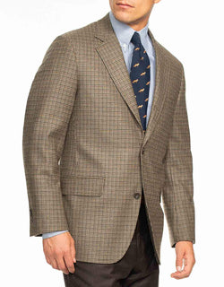 BROWN/OLIVE/NAVY HOUNDSTOOTH SPORT COAT - CLASSIC FIT