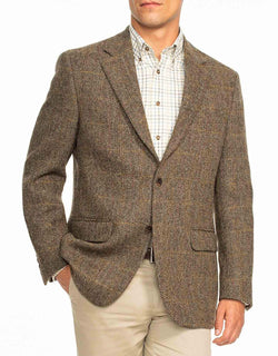 HARRIS TWEED OLIVE BROWN WITH ORANGE PANE SPORT COAT - CLASSIC FIT