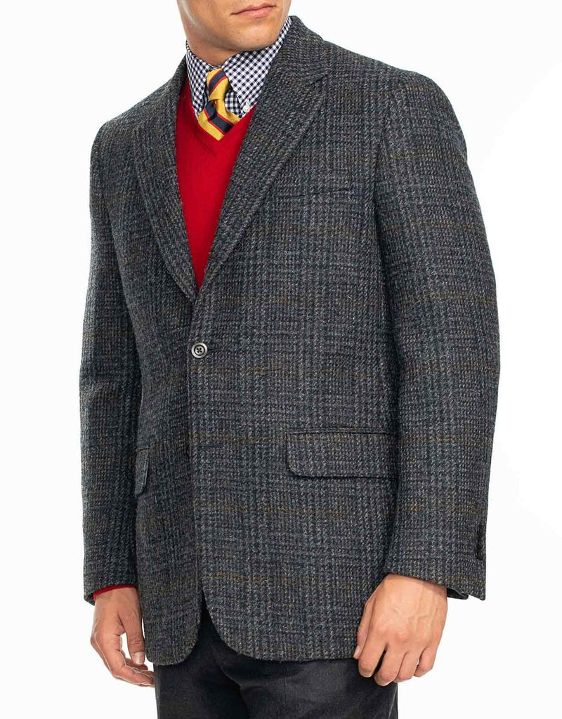 HARRIS TWEED NAVY GREY WITH ORANGE PANE SPORT COAT - CLASSIC FIT