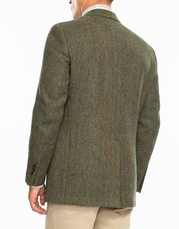 DONEGAL TWEED GREEN OLIVE WITH BLUE STRIPES SPORT COAT - CLASSIC FIT