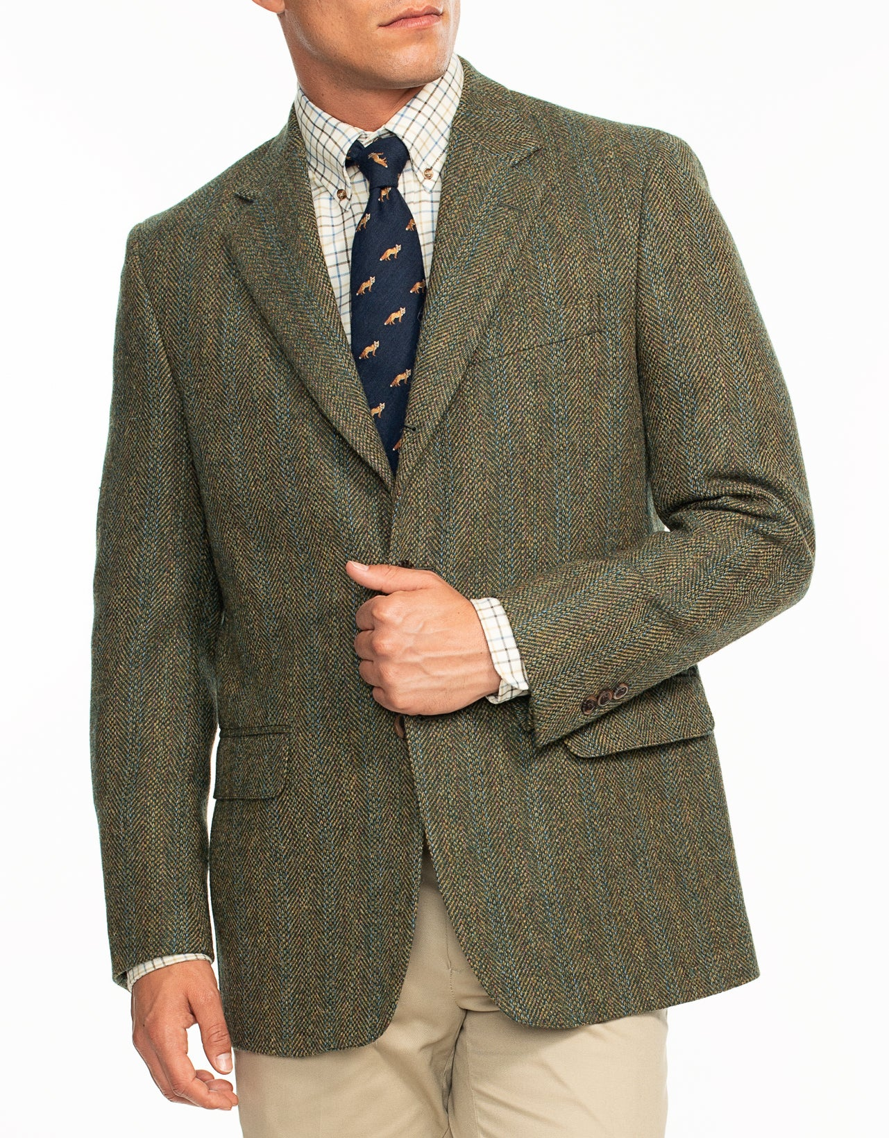 DONEGAL TWEED GREEN OLIVE WITH BLUE STRIPES