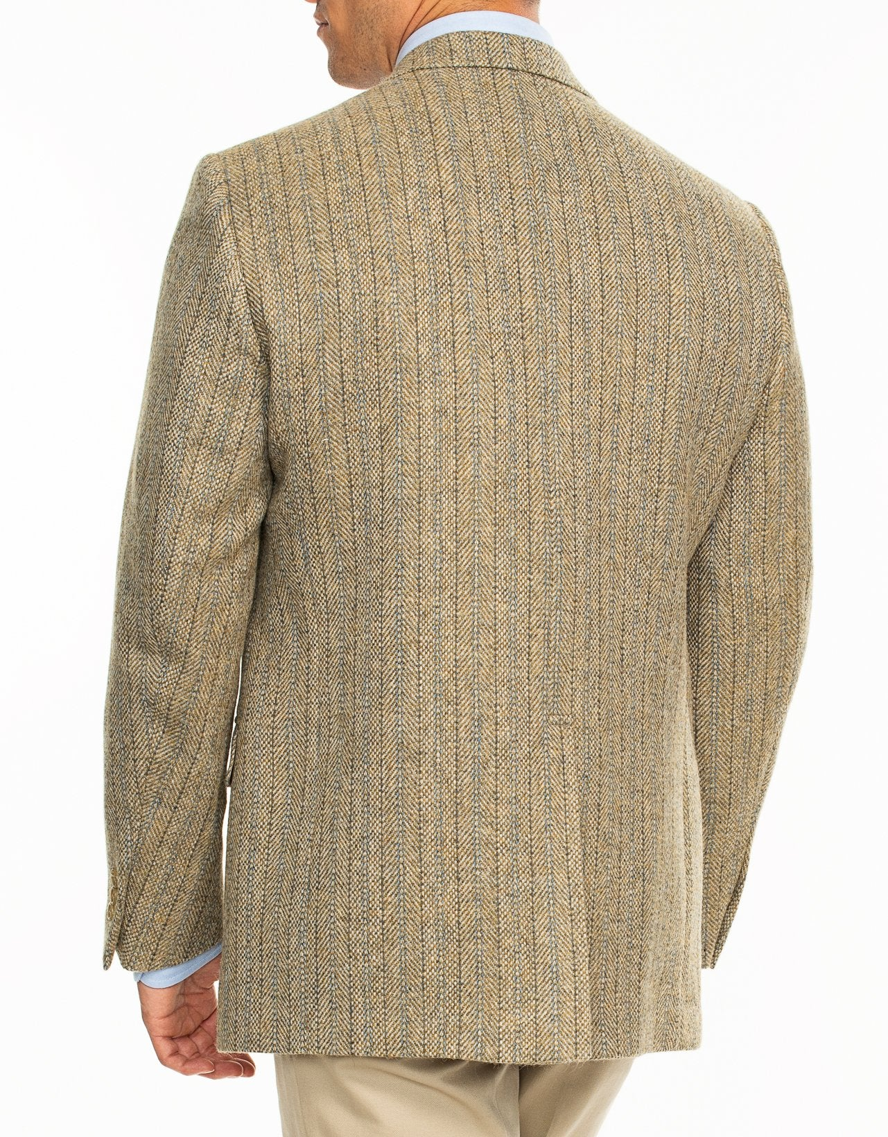 DONEGAL TWEED BEIGE WITH BLUE STRIPES