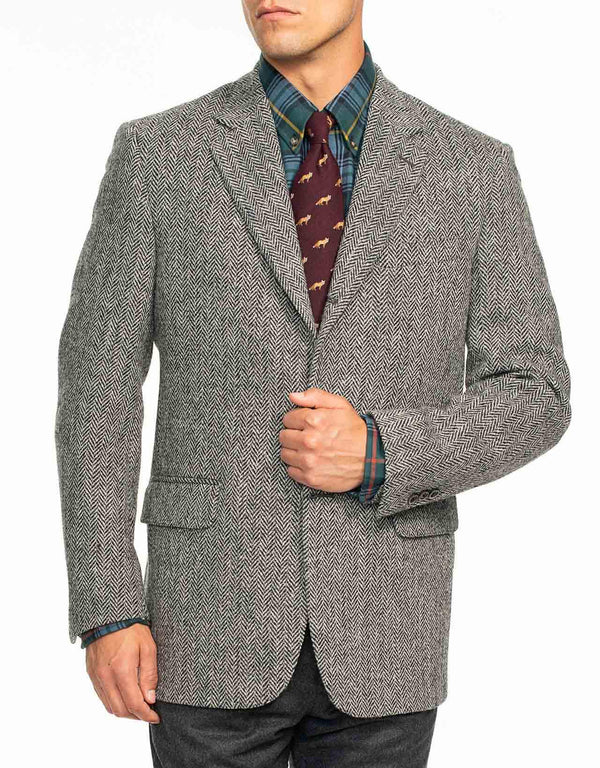 HARRIS TWEED CHARCOAL HERRINGBONE SPORT COAT - CLASSIC FIT