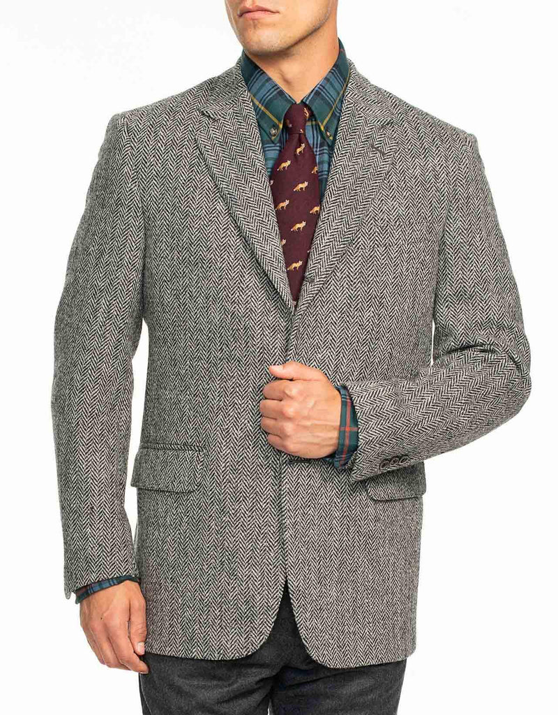 HARRIS TWEED CHARCOAL HERRINGBONE SPORT COAT