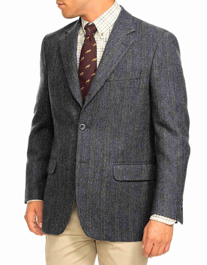 DONEGAL TWEED GREY WITH BLUE STRIPES SPORT COAT - CLASSIC FIT
