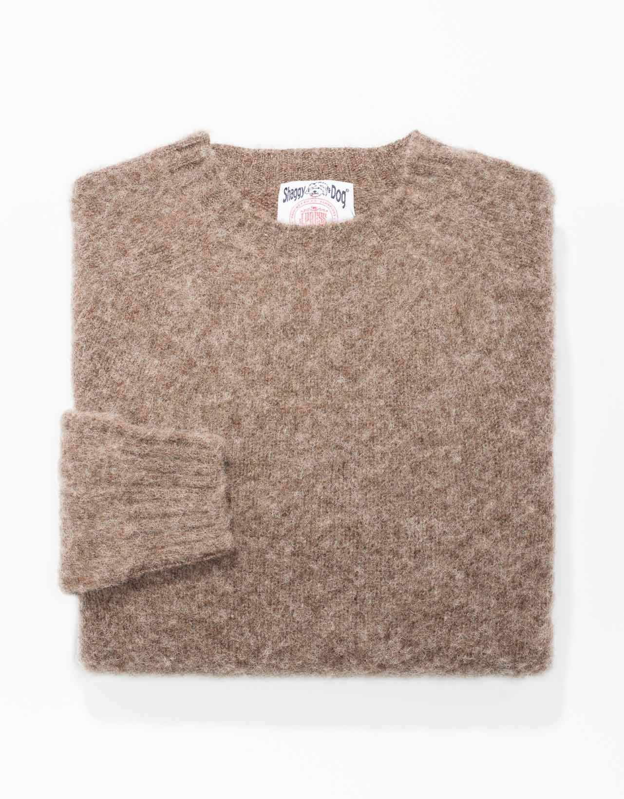 TRIM FIT SHAGGY DOG SWEATER - BEIGE
