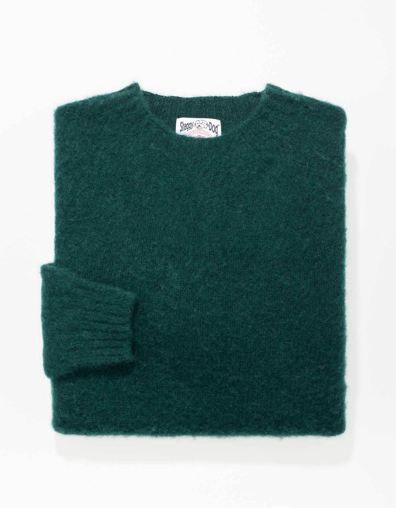 TRIM FIT SHAGGY DOG SWEATER - GREEN