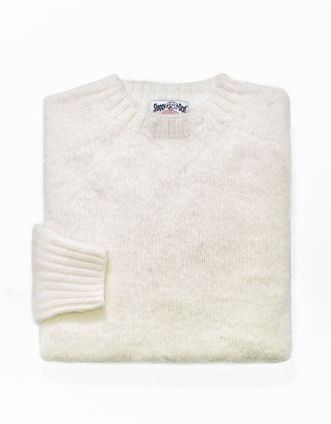 TRIM FIT SHAGGY DOG SWEATER - WHITE