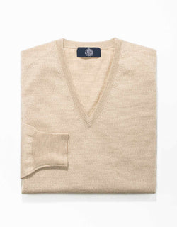 OATMEAL MERINO WOOL V-NECK SWEATER