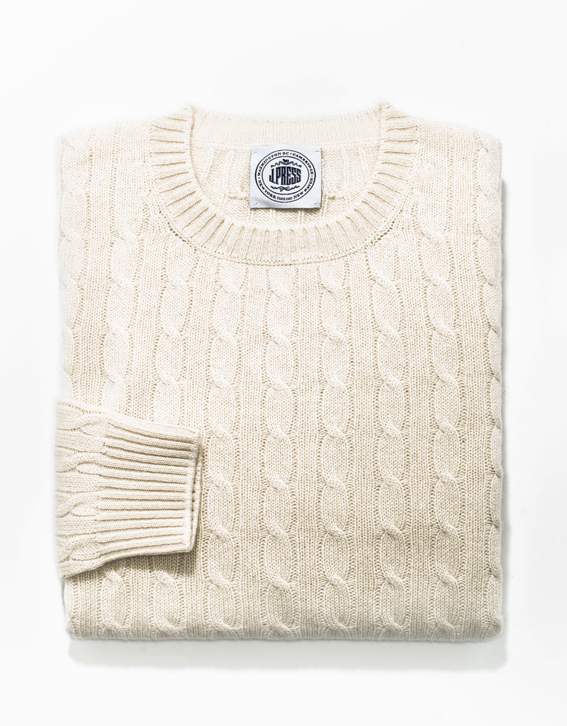 WHITE CREW NECK CASHMERE CABLE SWEATER