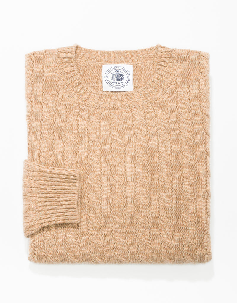 CAMEL CREW NECK CASHMERE CABLE SWEATER