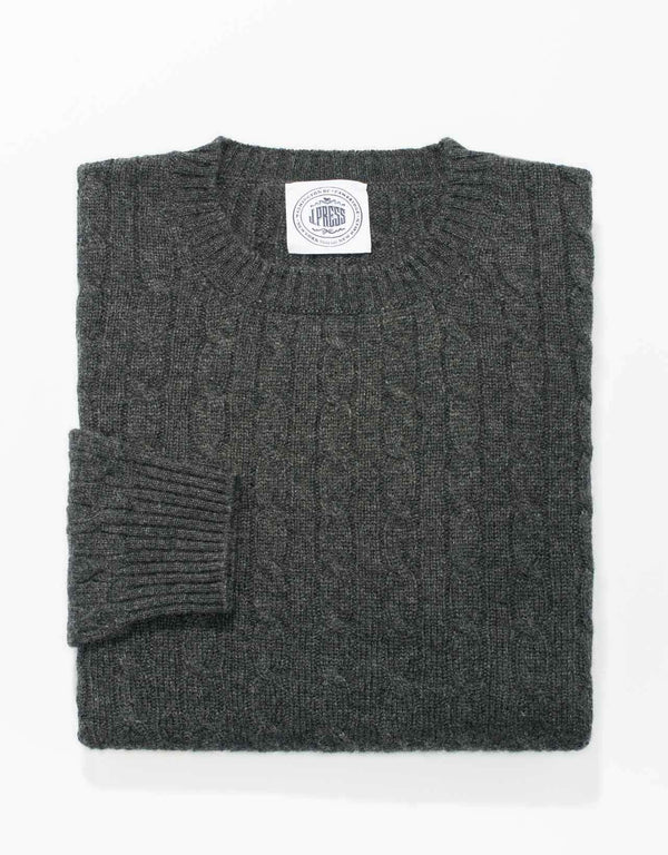 CASHMERE CREW NECK CABLE SWEATER - CHARCOAL
