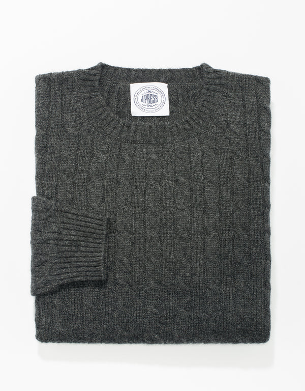 GREY CREW NECK CASHMERE CABLE SWEATER