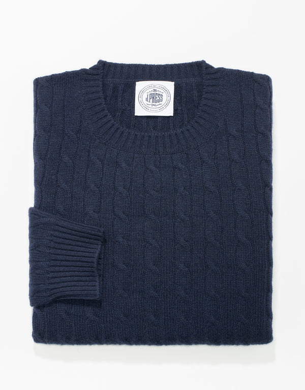 NAVY CREW NECK CASHMERE CABLE SWEATER