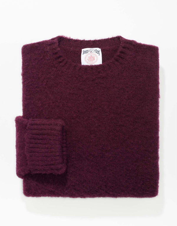 CLASSIC FIT SHAGGY DOG SWEATER - WINE
