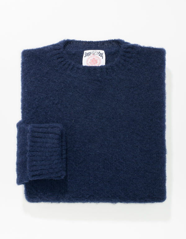 CLASSIC FIT SHAGGY DOG SWEATER - NAVY