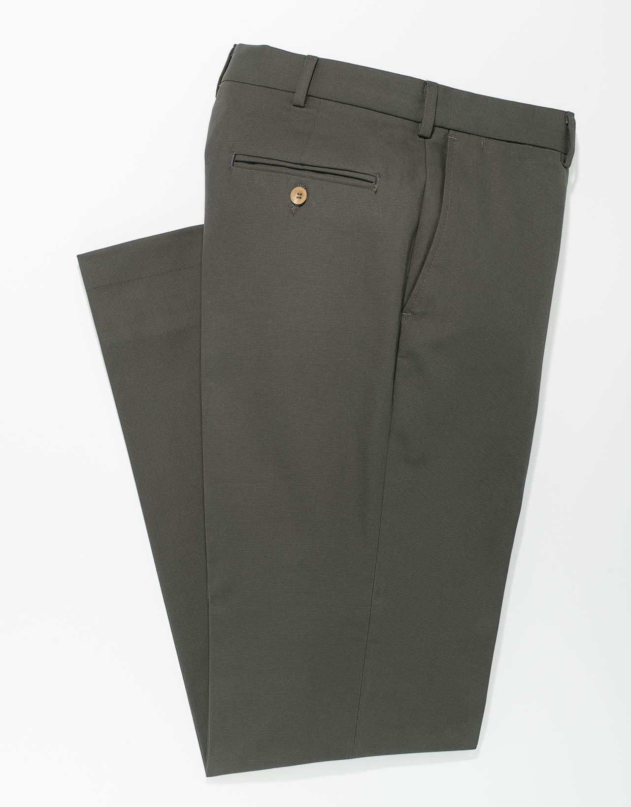 GREY BRUSHED COTTON CANVAS TROUSERS- CLASSIC FIT