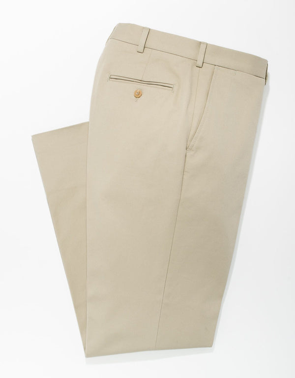 KHAKI COTTON CHINO PANTS - TRIM FIT