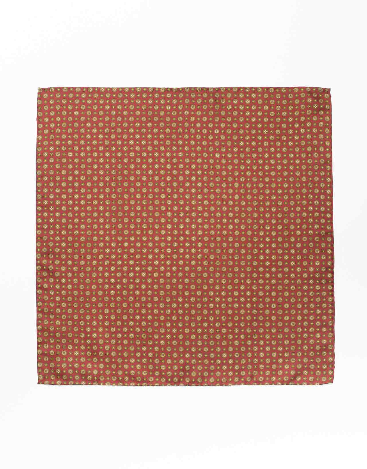 SILK MEDALLION AND FOULARD POCKET SQUARE- BURGUNDY