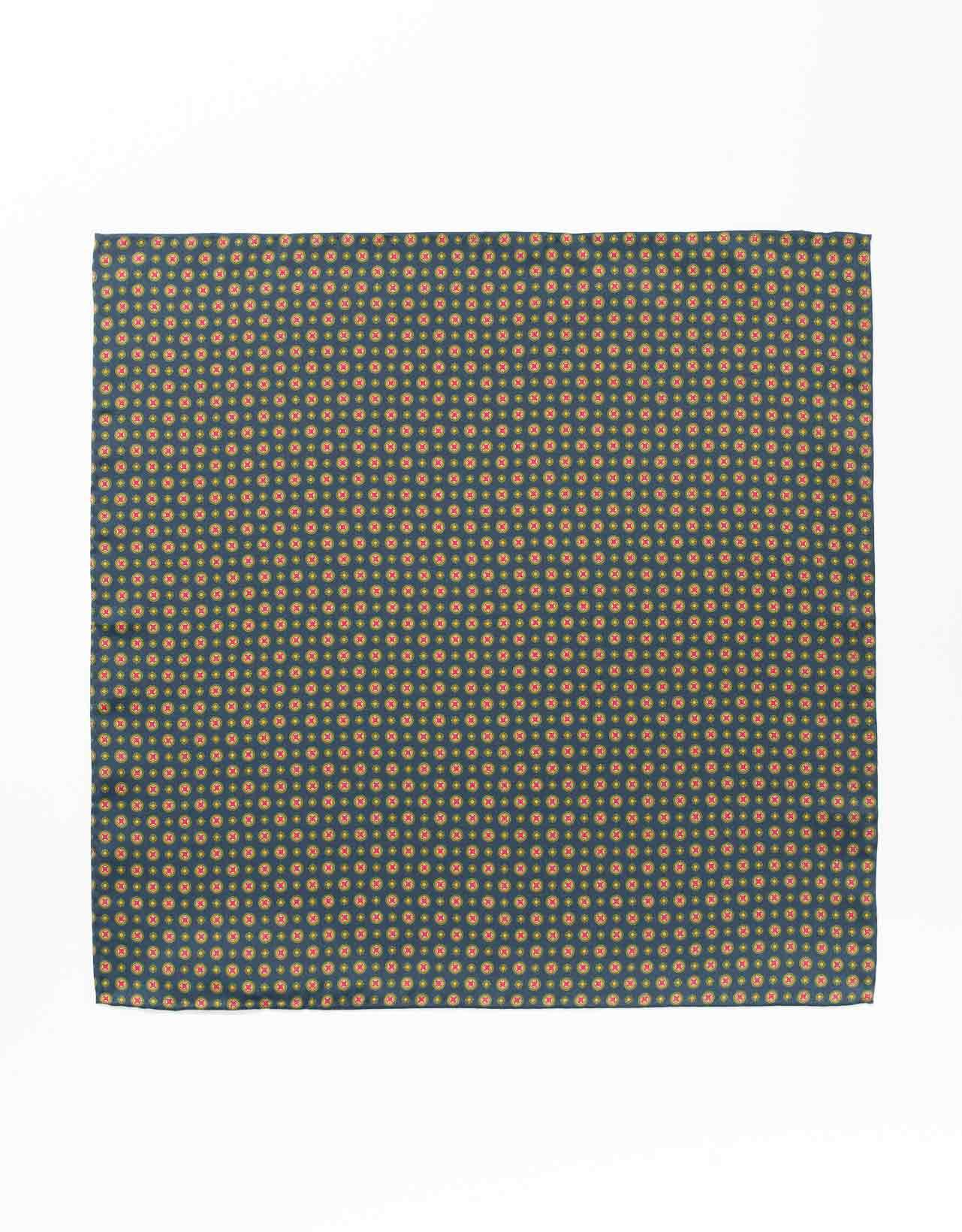 SILK MEDALLION AND FOULARD POCKET SQUARE- NAVY