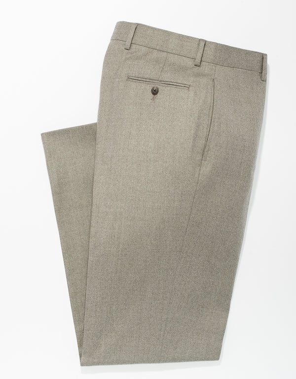 TAN WOOL FLANNEL TROUSERS - CLASSIC FIT