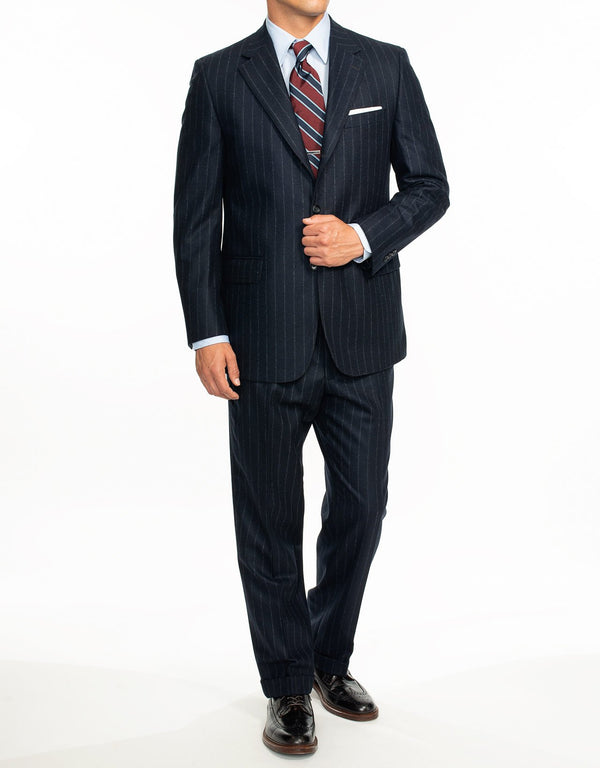 NAVY CHALK STRIPE FLANNEL SUIT - CLASSIC FIT