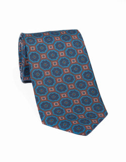 ANCIENT MADDER LARGE FOULARD TIE - BROWN